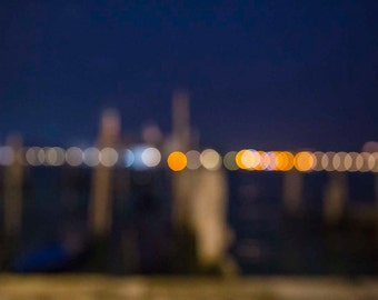 Venice, Italy, Colorful Bokeh on the Grand Canal, Night Photos