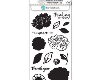 Hampton Art LAYERING Stamps - FLOWER AMAZE clear stamp set - Thank you Thinking of You SCO747 1.cc02