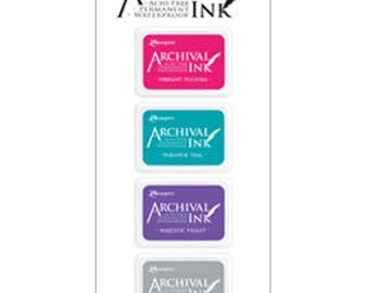 Mini Archival Ink Pad Kit 4 Vibrant FUCHSIA, Paradise TEAL, Majestic VIOLET, Shadow GReY AIMK57703 1.cc55