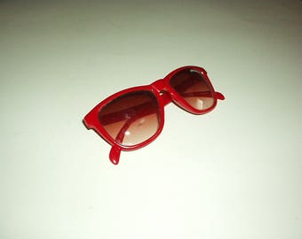 1980's Child or Teen JORDACHE Red Plastic SUNGLASSES with Tinted Lens #J087100Z (Made in Taiwan)  Super Cool, Extremely Rare Collectible