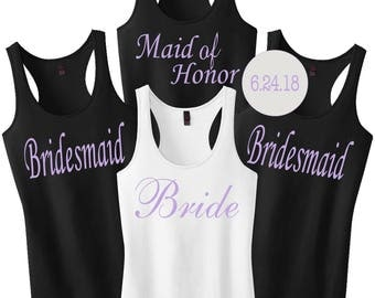 Bridesmaid Shirts With Custom Date.Bride Tank Top.Bridesmaid Shirts.Bachelorette Shirts.Bride Tank Top.Wedding Shirts.Bride Party Shirts
