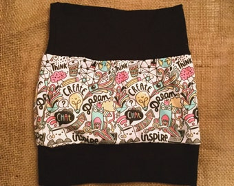 Evolutionary arc owl skirt sky exclusive, graphic pattern multicolored skirt child jersey
