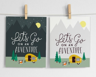 Let's Go on an Adventure Art Print, Mountains, Camping, Outdoors