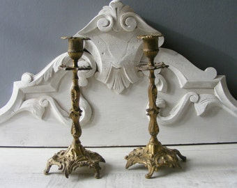 Pair of  French  Antique Bronze Candlesticks,Candle Holders.