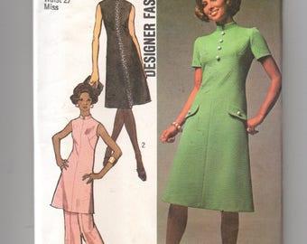 9158 Simplicity Sewing Pattern Designer Fashion High Round Neckline Dress Tunic Top & Pants Size 14 36B Vintage 1970