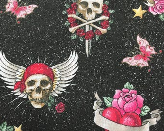 Sparkling Hearts and Skulls Cotton Fabric
