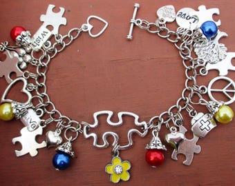 NEW Autism Awareness Red Yellow and Blue Puzzle Piece Charm Bracelet
