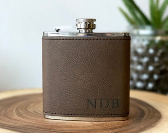 mens leather flask etsy