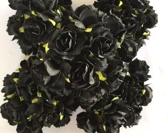 50 x Big Black Color Big Size 1.2 inch or  3cm Mulberry  Paper Flower Roses   Wholesale Bulk