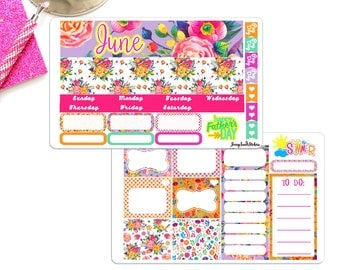 June Monthly Kit, June Month View Planner Stickers, Monthly Layout For EC Planner Stickers, Monthly Layout, Month View stickers