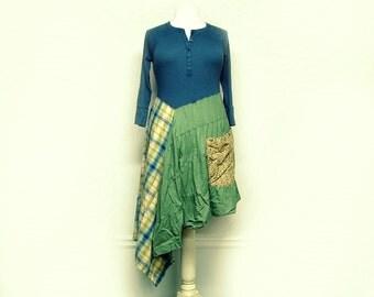 Large Boho Shabby Chic Asymmetrical Dress, Cotton Plaid Dress, Mori Girl Style, Lagenlook Eco Friendly Upcycled Clothing by Primitive Fringe