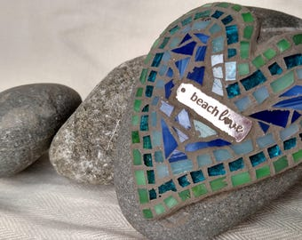 Beach Love~ green and blue heart rock