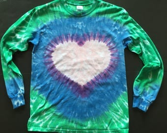 Heart  T shirt- Tie Dyed, Long Sleeve