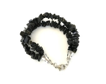 Free Shipping,Black Obsidian Bracelet, double strand bracelet, black chips, black chip bracelet, gemstones, trendy jewelry, Made in USA