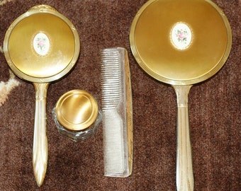 Vintage Vanity Dresser Set - 4 piece set Brush, Comb, Mirror, Glass Jar