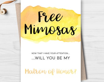 Printable Will You be My Matron of Honor Card - Will You Be My Matron of Honor Invitation - Funny Will You Be My Bridesmaid - Funny Card