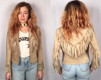 Vintage tan suede fringe jacket The Olde Hide House SIZE small 4