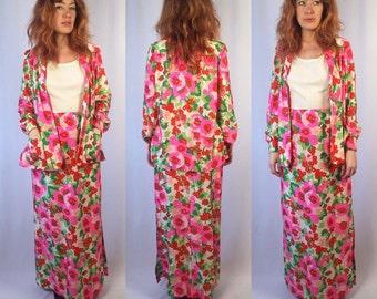 Vintage 1970's 2 Piece maxi dress set