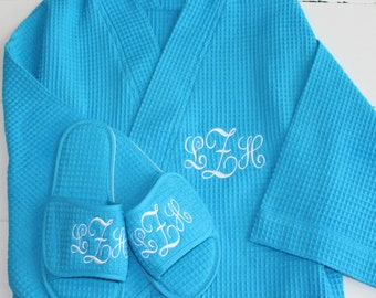 Monogrammed Robe and Slipper Set Something Blue  Bridal Party Gift