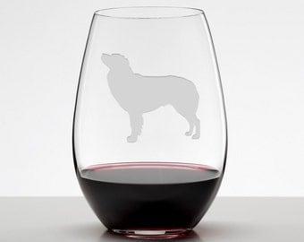 Australian Shepherd, Aussie Silhouette Etched Stemless Wineglass