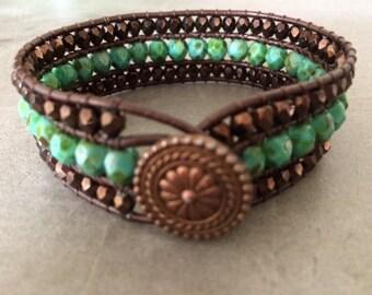 Triple Strand Beaded bracelet,copper,button,fire polished,girlfriend
