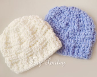 Twin Basket Weave Hats, Blue Off White Twin Hat, Soft Baby Boy Hat, Twin Boy Hats, Hospital Baby Hats, Baby Boy Outfit, Newborn Twin Hats