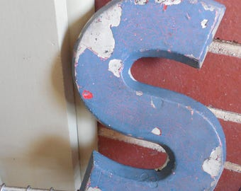 """Industrial 8"""" Metal Theater Marquee Letter S - Vintage Cast Aluminum Adler Sign"""