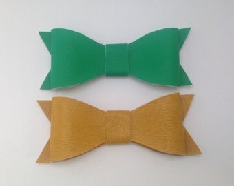 Yellow and Green Faux Leather Bow Clip or Headband