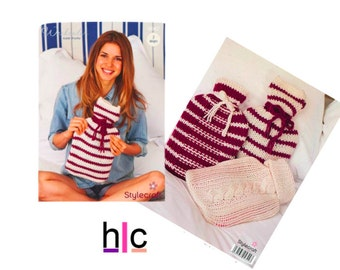 Knitting Pattern 9042 - Weekender Super Chunky Hot Water Bottle Cover - 3 designs, Designer Hot Water Bottle Cover, knitted Gift ideas