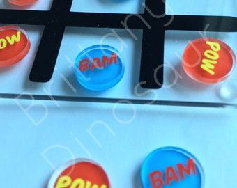 POW and BAM Comic Acrylic and Vinyl Tic-Tac-Toe Board kids toys