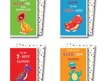 Instant Download Printable Dinosaur Valentines