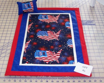 """Patriotic, American Girl Sized, Reversible Doll Quilt, 16 1/2"""" X 22"""" with Matching Pillow, 5 3/4"""" X 3 1/2""""."""