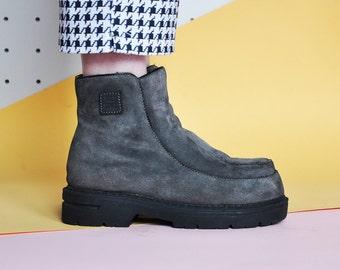 90s PLATFORM boots CHUNKY boots GRUNGE boots suede boots goth boots gothic boots club kid boots rave boots / size 8.5 us / 6 uk / 39 eu