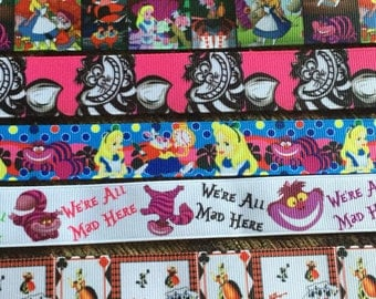 Classic Ribbon lanyard ID holder for Disney vacation, adult or youth sizes (Alice in Wonderland, Cheshire Cat, Queen of Hearts)