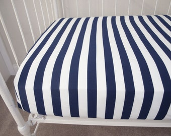 Navy and White Stripes Fitted Crib Sheet Cot Sheet / Changing Pad -- Soft Knitted Cotton