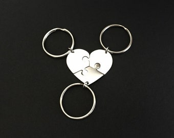 Personalized Stainless Steel Puzzle Key Chains. Heart Puzzle Key Chain Set. 3 Best Friends. 3 Sisters Gift Set.Long Distance Friendship Gift