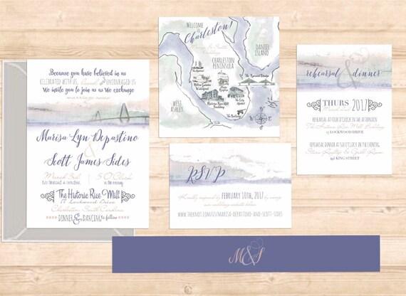 charleston Ravenel Bridge watercolor invitation suite