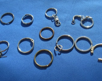 Lot Of Retro Salvaged Keychain Rings