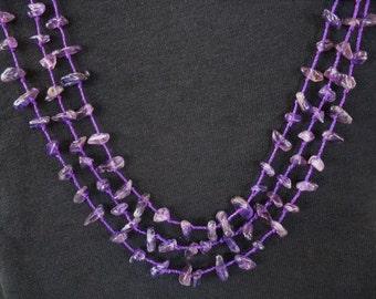 Three Strand Amethyst Gemstrone Necklace, Purple Stone Necklace, Februaray Birthstone Necklace