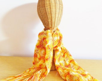 Vintage Crocheted Scarf with Fringe - Retro Red Orange and Yellow - Lacy Boho Shawl - 1970s