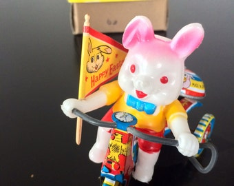 1970's Celluloid Mechanical Rabbit On Bike, Made In Japan