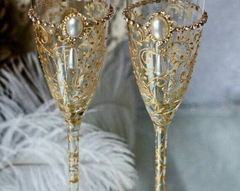 Personalized Champagne Glasses, Gold Art Deco Gatsby wedding Champagne Flutes, Gold Wedding glasses, Set of 2 Gold