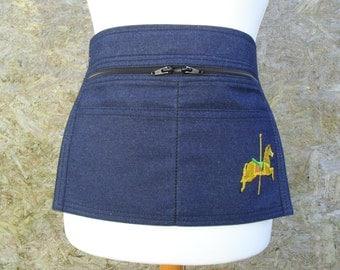 Small / Junior Denim Market Trader Money Pocket / Vendor Money Apron with embroidered Carousel Horse.  Showmans.  Item No. LDC0450