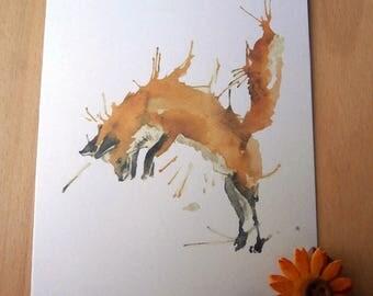 A5 Jumping Fox Card