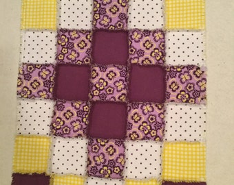 Flannel quilt, baby blanket, polkadot quilt, baby shower, nursery quilt, crib bedding, purple quilt ; 10% of PP to charity of buyer's choice