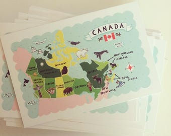 "Set of 5 4""x6"" Map of Canada Postcards"