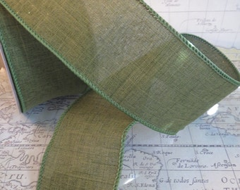 Green Wired Edge Ribbon For Crafting Shimmer 2 1/2 Inch