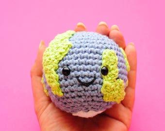Planet earth handmade baby rattle ball | crochet globe | amigurumi planet