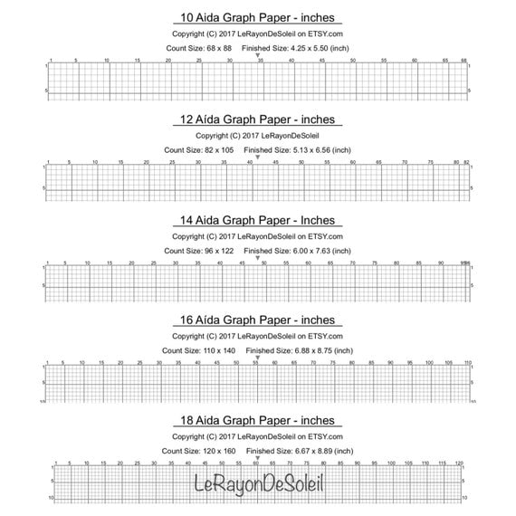 Aida 10, 12, 14, 16 And 18 Cross Stitch Graph Paper, Grid Template