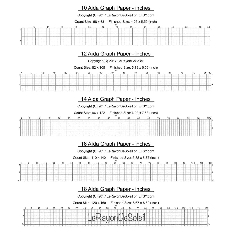 aida 10 12 14 16 and 18 cross stitch graph paper grid